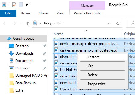 Restore videos from Recycle Bin